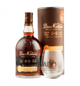 Dos Maderas 5+5 P.X 0,7L gift tube + glass (Ром Дос Мадерас ПХ в подарочном тубусе с бокалом 0,7 л)