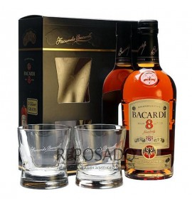 Bacardi Gold 8 Years Old with Glasses 0,7L (Бакарди Голд 8 лет со стаканами 0,7л)
