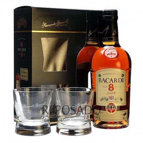 Bacardi Gold 8 Years Old with Glasses 0,7L (Бакарди Голд 8 лет со стаканами 0,7л)
